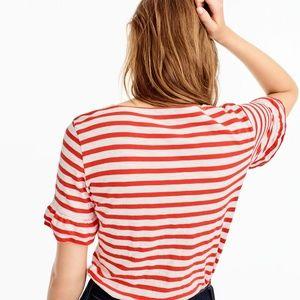J. Crew Tops - NWT J.Crew Women's Ruffle-Sleeve T-Shirt in Stripe